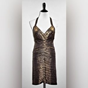 EUC BCBGMaxAzria Metallic Halter Mini Dress